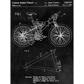 Mountain Bike Patent Art- Patent Print - Patent Poster - Office Art - Bike Patent