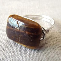 Tiger Eye ring - wire wrap ring - brown stone ring - rectangle stone ring - natural stone ring - wire wrapped jewelry handmade