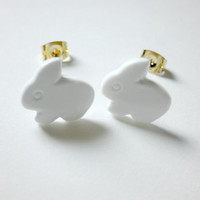 Bunny Rabbit Earrings, White, Easter Jewelry, Hypoallergenic Gold Plated Stud Posts