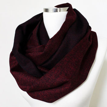 Cashmere Herringbone Infinity, Claret red Men Women, Unisex Scarf Infinity Scarves, Valentines Day Gift Ideas For Her For Him For Her