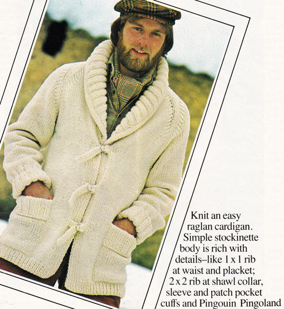 Knitting Pattern For Mens Sweater With Collar : Vintage MENS pattern shawl collar from GrandmaHadItGoinOn ...