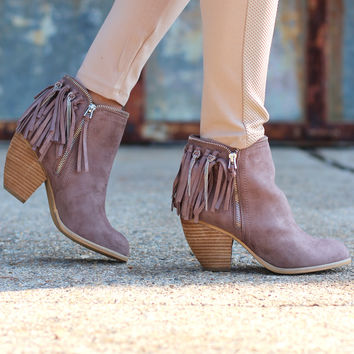 Not Rated: Flippin Fringe Bootie {Taupe}
