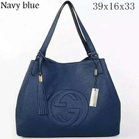 GUCCI Women's Fashion Trendy Leather Litchi Pattern Bag Tote Bag F-LLBPFSH navy blue