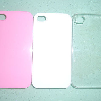 Iphone 4 and Iphone 4s case.DIY iphone 4/4s case stuff.white,clear and pink.3 pieces