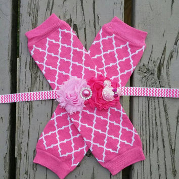 Pink Minnie Mouse Headband set -  Quatrefoil - Birthday -  Leg Warmers -  Christmas -  Disney