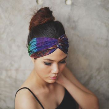 Midnight blue & Sap Green   - Hippie Turban headband  ,100% Hand-dyed , Hair wrap, twist headband,tie dye headband