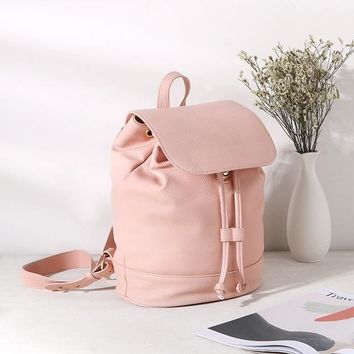 School Backpack trendy Women Fashion Casual Backpack String Bucket Simple School Bag for Teenagers Large Travel Bag Girls Daypack PU Leather Bagpack AT_54_4