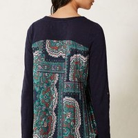 Accordion Tee by Anthropologie Blue Motif