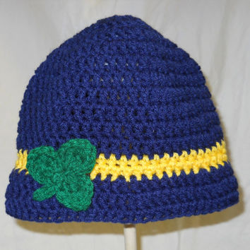 Ladies/Girls Notre Dame Football Inspired Crochet Bucket Cloche Hat with Shamrock