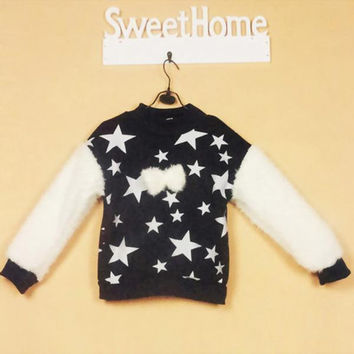 Lovely Baby Kids Girls Crewneck Stars Print Long Sleeve Fleece Cozy Blouse Tops NW
