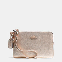 Corner Zip Wristlet in Metallic Crossgrain Leather