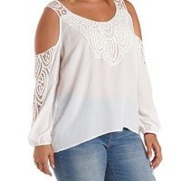 Plus Size Ivory Crochet-Trim Cold Shoulder Top by Charlotte Russe