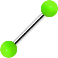 18 Gauge Green Neon Acrylic Ball Eyebrow Barbell | Body Candy Body Jewelry