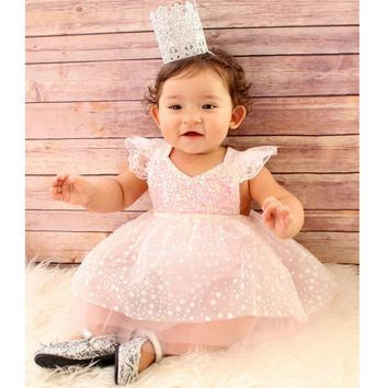2017 Newest Sequins Tutu Style Trendy And Retro Princess Clothes Kids Children's Costume Summer Cute Lace Baby Girls Dress