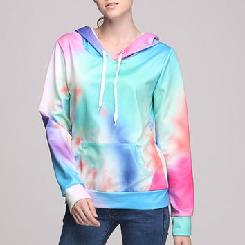 Gradient Color Hooded Long Sleeve Pocket Design Hoodie