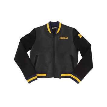Embroidered Michigan Cropped Varsity Jacket