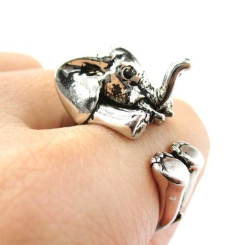 3D Realistic Baby Elephant Animal Wrap Around Ring in Shiny Silver | US Sizes 5 to 8.5