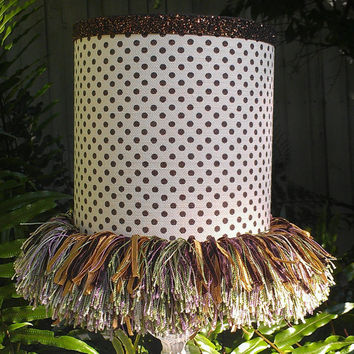 Lampshade, Cream with Brown Polka Dots, Bronze Glitter Trim, Fringe, Grosgrain Ribbon, Clip Top Drum Shade, Cotton Fabric Grosgrain Ribbon