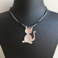 Leather Necklace/Cat Necklace/Animal Necklace/Animal Jewelry/Birthday Gift/Antique Silver Plated Necklace