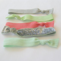 5 Ribbon Hair Ties, The Emmy Glitter Set by Lucky Girl