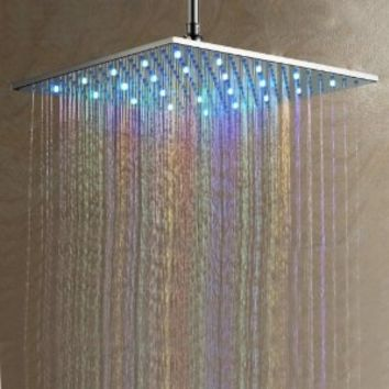 Lightinthebox® Contemporary Stainless Steel Shower Head with Color Changing LED Light Rectangle Waterflow Powered Bath Shower Lavatory Plumbing Fixtures