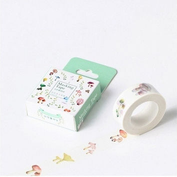 10m Cute Mushroom Adhesive Tape DIY Scrapbooking Sticker Label Masking Tape