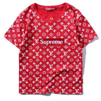 Supreme Fashion Print LV With Flower Embroider Monogram Short Sleeve Tee Top hoodie H-A-XYCL