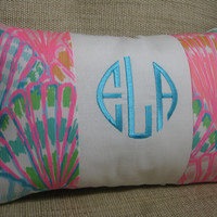 Lilly Pulitzer Monogrammed Accent Pillow with INSERT/Multi Shell Oh /Preppy/Southern /Sorority Gift/Dorm Bedding