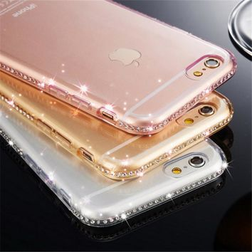 Rhinestone TPU Cover For iPhone 5 5s se Case Luxury Diamond Silicon Soft Phone Shell Coque For iPhone 5se 6 s 6s 7 8 Plus Etui