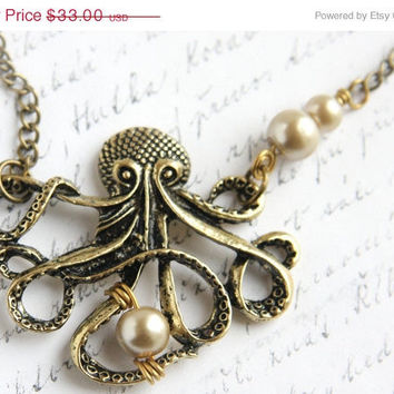 Valentines Day SALE My PEARL - Large Bronze Octopus Pendant, Steampunk Long Single Stand Antique Brass Chain Necklace, Captain Nemo Vintage