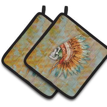 Day of the Dead Indian Skull  Pair of Pot Holders BB5127PTHD