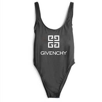 GIVENCHY SWIMMER SWIM TAN TOP VEST SHIRT V NECK WOMEN LETTERS BOTTOMING CLOTHES