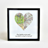Personalized Map Heart / Mothers Day Gift / Long Distance Mom / Gift for Grandma / Mother Daughter Distance Map / Birthday Gift for Mother