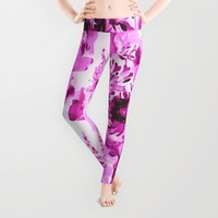pink floral Leggings by Clemm