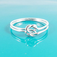 Sterling Silver Double Love Knot Ring, Hug Infinity Ring, Tie the Knot Ring, Bridesmaid Gift, Sailor Knot Ring, Celtic Knot Ring