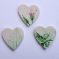 Three Porcelain Flower, Leaf and Foliage Heart Fridge Magnets