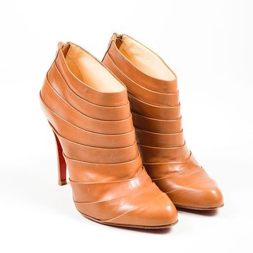 DCCK Camel Leather Christian Louboutin  Orniron 100  Pleated Ankle Boots
