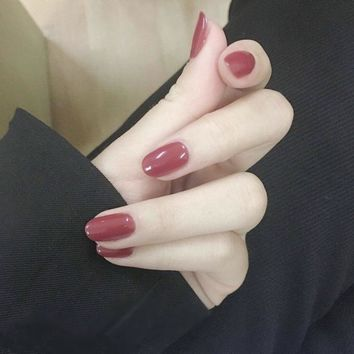24pcs Round Bride False Nails Highlighted Oval Red Bean and Pink Fake Nails French Acrylic Artificial Simple Full Nail Art Tips