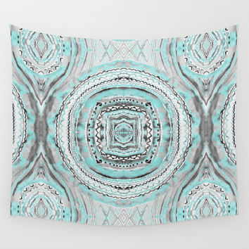 Teal & Blue Complexities - a Watercolor Tribal Pattern  Wall Tapestry by TigaTiga Artworks