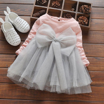 Tailor Made Princess Bow Dress Casual Outfit for Toddler Girls