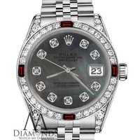Rolex 36mm Datejust Black MOP with Ruby & Diamond Bezel Stainless Steel Watch