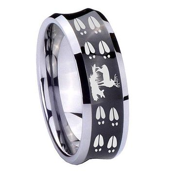 10MM Concave Deer Hunting Tracks Tungsten Carbide Black IP Two Tone Men's Ring