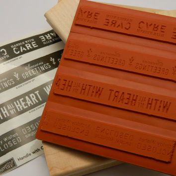 Rubber Stamp Set, Wood Mounted, Stampin' Up, Handle With Care, Retired