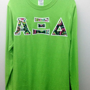 Alpha Xi Delta Sorority Small Long Sleeve T Shirt with Greek Letters -- Ready to Ship!