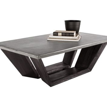 GLANCE GREY CONCRETE TOP WITH ACACIA WOOD BASE COFFEE TABLE