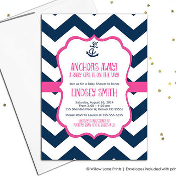 Girl baby shower invites nautical in navy and hot pink chevron with anchor - printable or printed - WLP00793