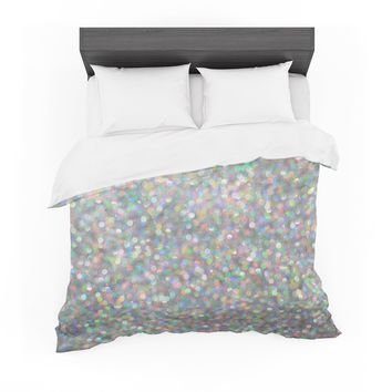 "Susan Sanders ""Rainbow Silver Glitter"" Pastel Gray Photography Featherweight Duvet Cover"