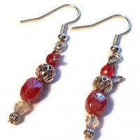 Cherry Red Dangle Earrings