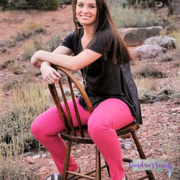 Hot Pink Ankle Jeans