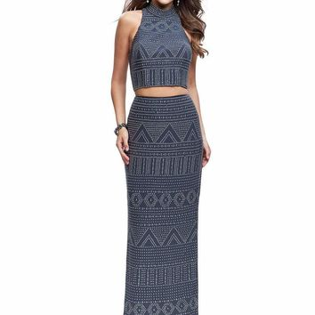 La Femme - 26045 High Neck Patterned Metallic Beaded Two Piece Gown